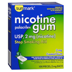 Nicotine Polacrilex Coated Gum Cool Mint 100 each by Sunmark
