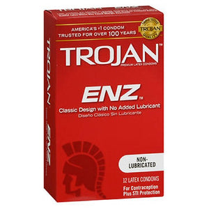 Trojan Enz Non-Lubricated Premium Latex Condoms 12 each by Arm & Hammer (2588070412373)