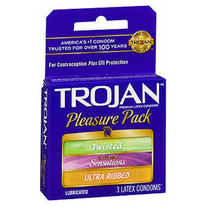 Trojan Pleasure Pack Lubricated Premium Latex Condom 3 each by Trojan