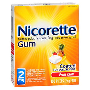 Nicorette Nicotine Polacrilex Gum Fruit Chill 100 each by Abreva