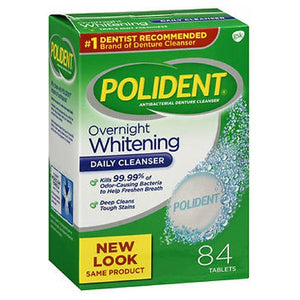 Polident Denture Cleanser Antibacterial Overnight Whitening Triple Mint Freshness 84 tabs by Polident