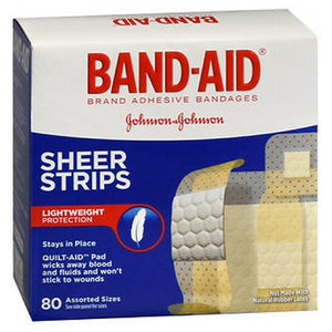 Band-Aid Sheer Strips Assorted 80 each by Band-Aid (2587579613269)