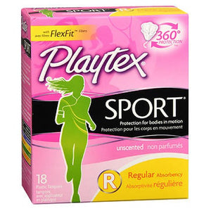 Playtex Sport Tampons Regular Unscented 18 each by Playtex (2587579940949)
