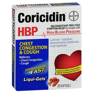 Coricidin Hbp Chest Congestion And Cough Non-Drowsy Liqui-Gels 20 each by Coricidin Hbp (2587582627925)