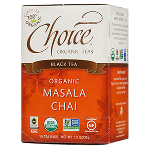 Organic Black Tea Masala Chai 16 bags(case of 6) by Choice Organic Teas (2588144369749)