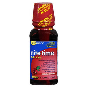 Sunmark Nite Time Cold Flu Liquid Cherry Flavor 8 oz by Sunmark (2587656618069)