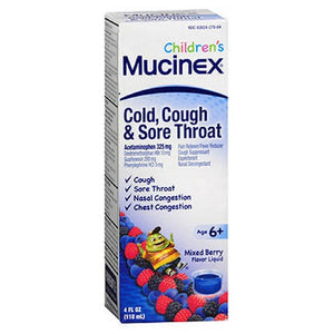 Childrens Cold Cough Sore Throat Liquid Mixed Berry 4 oz by Mucinex (2587657371733)
