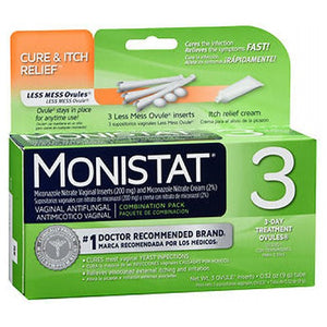 3 Vaginal Antifungal Cure & Itch Relief 3 Each by Monistat