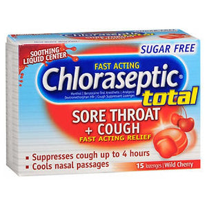 Chloraseptic Total Sore Throat Plus Cough Lozenges Sugar Free Wild Cherry 15 Each by Chloraseptic (2590103961685)