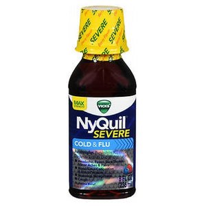 Vicks NyQuil Severe Cold Flu Liquid Berry Flavor 8 oz by Vicks