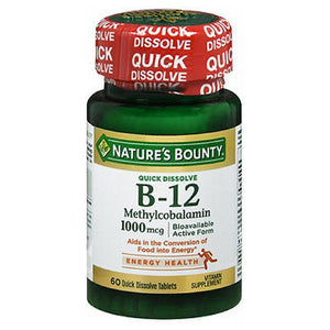 B-12 Methylcobalamin Natural Cherry Flavor 60 Tabs by Nature's Bounty (2590109794389)