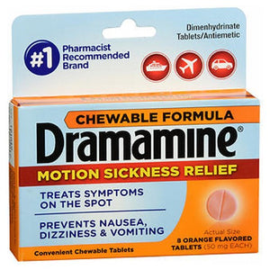 Dramamine Motion Sickness Relief Chewable Tablets Orange Flavored 8 Tabs by Med Tech Products (2590111760469)