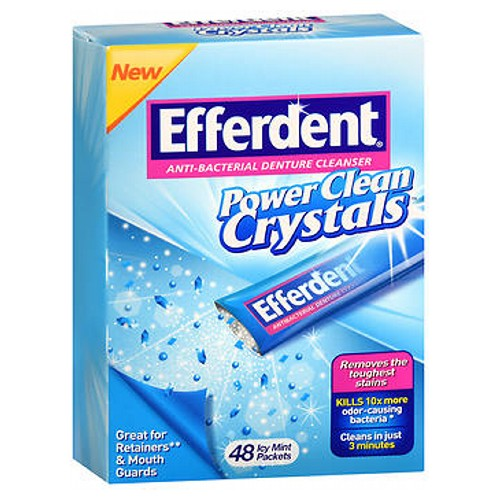 Efferdent Anti-Bacterial Denture Cleanser Power Clean Crystals Icy Mint 48 Each by Efferdent