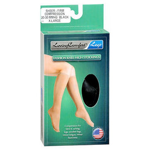 Knee High Stockings Sheer Firm Compression Black Medium Extra Large 1 Pair by Scott Specialties