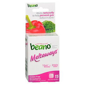 Beano Meltaways Food Enzyme Strawberry 15 Tabs by Med Tech Products