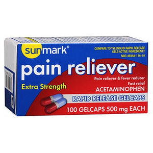 Sunmark Pain Reliever Extra Strength Rapid Release Gelcaps 100 Caps by Sunmark