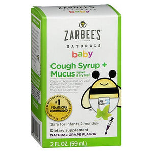 Zarbee's Naturals Baby Cough Syrup + Mucus Reducer Natural Grape Flavor 2 Oz by Zarbees