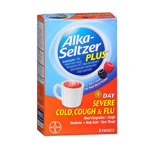 Alka-Seltzer Plus Day Severe Cold - Cough & Flu Powder Packets Berry Fusion 6 Each by Bayer