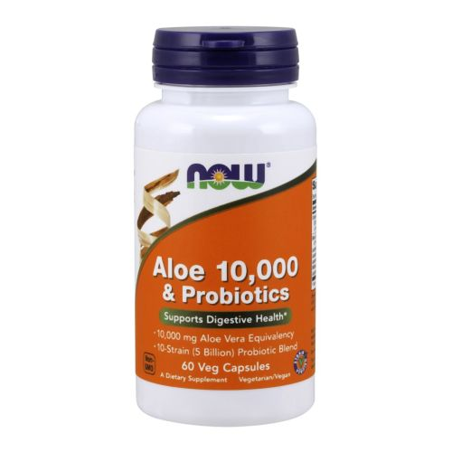 Aloe 10,000 & Probiotics 60 Veg Capsules by Now Foods
