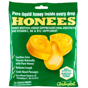 Cough Drops Honey Lemon 20 Count by Honees