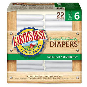 Diaper Stg6 35Lb+ 22PC(case of 4) by Earth's Best  (2590271766613)