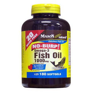 No-Burp Omega-3 Fish Oil 180 Softgels by Mason