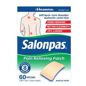 Salonpas Pain Relieving Patch 60 Count by Salonpas (2590275862613)