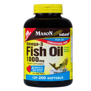 Omega-3 Fish Oil 200 Softgels by Mason