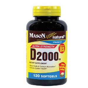 Ultra Strength D2000 120 Softgels by Mason