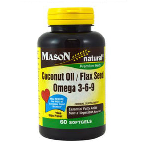 Coconut Oil & Flax Seed Omega 3-6-9 60 Softgels by Mason