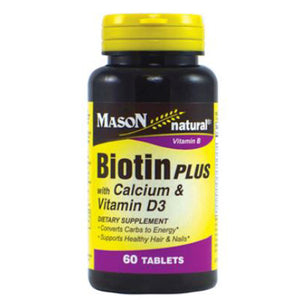 Biotin Plus with Calcium & Vitamin D3 60 Tabs by Mason