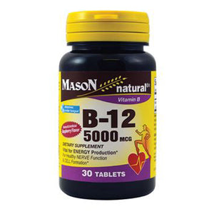 Vitamin B-12 Raspberry 30 Tabs by Mason (2587719663701)