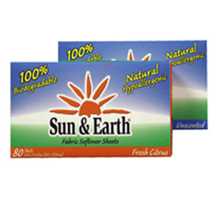 Fabric Sheets Citrus Case Of 6 /80 CT by Sun & Earth (2587301478485)