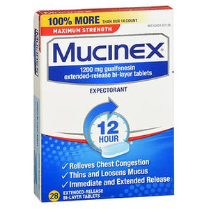 Mucinex Expectorant Extended-Release Maximum Strength 28 tabs by Airborne