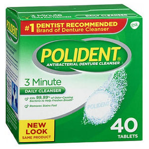 Polident 3-Minute Antibacterial Denture Cleanser 40 tabs by Abreva