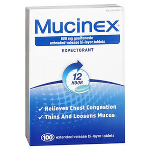 Mucinex Extended-Release Bi-Layer 100 tabs by Mucinex (2587575812181)