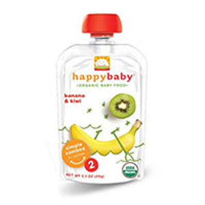 Organic Baby Food Stage 2 Banana and Kiwi 16 X 3.5 Oz by Happy Baby Food