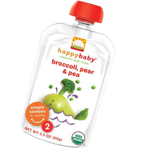Organic Baby Food Stage 2 Broccoli Peas and Pear 16 X 3.5 Oz by Happy Baby Food