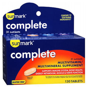 Sunmark Complete Multivitamin/Multimineral Supplement Tablets 130 Tabs by Sunmark (2590110154837)