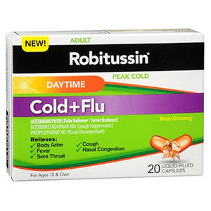 Robitussin Adult Peak Cold Plus Flu Capsules Daytime 20 Caps by Robitussin
