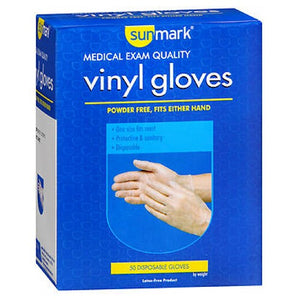 Sunmark Vinyl Gloves Powder Free 50 Each by Cypress Medical Products