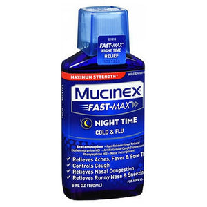 Mucinex Fast-Max Night Time Cold & Flu Liquid 6 oz by Airborne