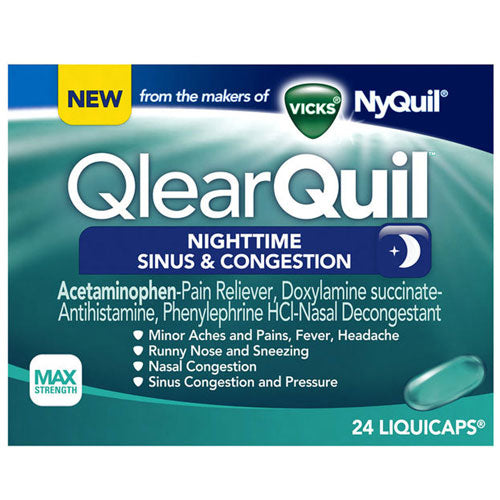 QlearQuil Sinus & Congestion LiquiCaps Nighttime 24 Liqui Caps by Procter & Gamble