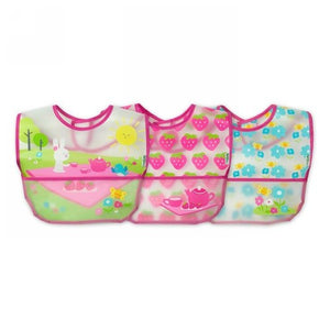 Wipe Off Bibs Pink, 9-18 Months 3 Count by Green Sprouts