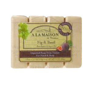 Hand & Body Bar Soap Fig & Basil 4/3.5 Oz by A La Maison (2590291394645)