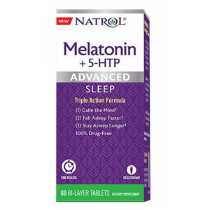 Advanced Melatonin Plus 5 HTP 60 Tabs by Natrol (2590292869205)