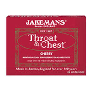 Throat & Chest Lozenges Cherry Menthol 24 CT by Jakemans