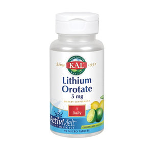 Lithium Orotate Lemon Lime 90 Count by Kal
