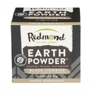 Earthpowder All Natural Tooth and Gum Powder Black Licorice 1.8 Oz by Redmond Life