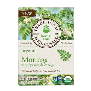 Organic Tea Moringa with Spearmint and Sage 16 Bags by Traditional Medicinals Teas (2587885895765)
